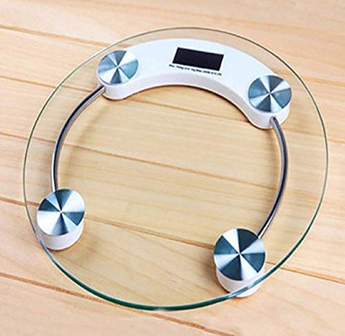 Basic Deal Thick Tempered Glass and LCD Display Digital Personal Bathroom Health Body Weighing Scales for Human Body (Round-Shape)