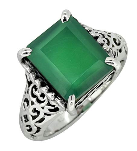 YoTreasure Green Onyx Solid 925 Sterling Silver Filigree Ring