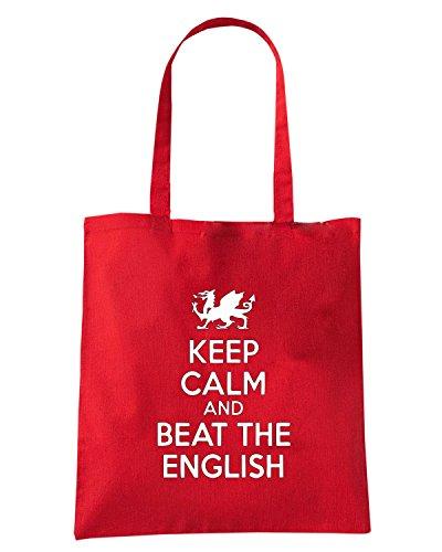 T-Shirtshock - Bolsa para la compra OLDENG00762 keep calm and beat the english logo Rojo
