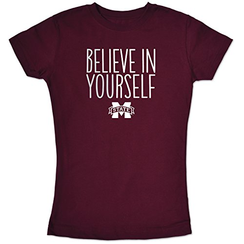 College Kids NCAA Mississippi State Bulldogs Girls Short Sleeve Tee, 7/X-Small, Maroon