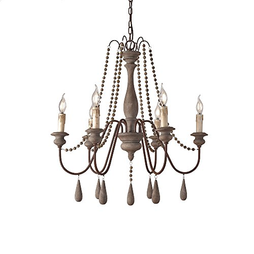 JinYuZe Ceiling Light Fixture,French Country Candle-Style Wood Bead Swag 1-Tier/2-Tier Wooden Chandelier,6 Lights,Gray ()