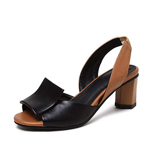 (DecoStain Women's Slingback Block Heel Peep Toe Sandals Classic Slip On Dress Sandals Black)