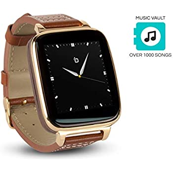 Beantech Engage Plus Smart Watch for Apple/Android Phones. 8GB of Music Storage. Gold with Leather Strap.