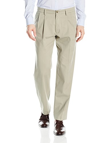 Pleated Front Casual Pants - Dockers Men's Classic Fit Easy Khaki Pants - Pleated D3, Cloud (Stretch), 36 30