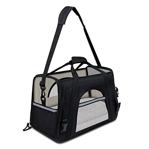 GDPETS Pet Carrier, Airline Approved Soft Sided Dog Cat Carrier Premium Portable Foldable Carriers Bag with Fleece Bedding Designed for Small or Medium Dog and Cat When Outdoor and Travel
