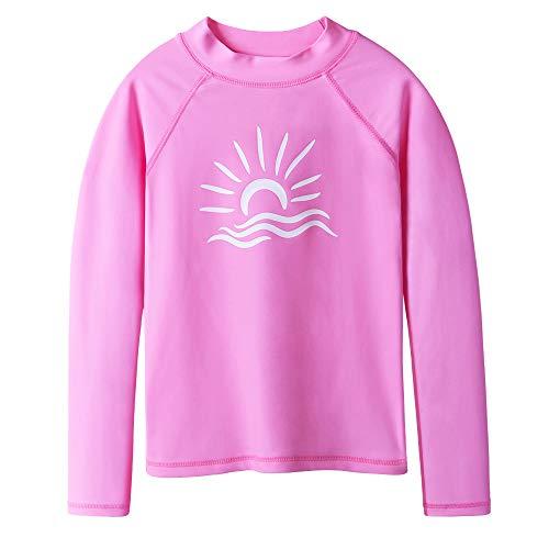 TFJH E Long Sleeve T-Shirt for Girl Rashguard Swimwear UV 50+ Surfing Swimming Costomes, Pink -
