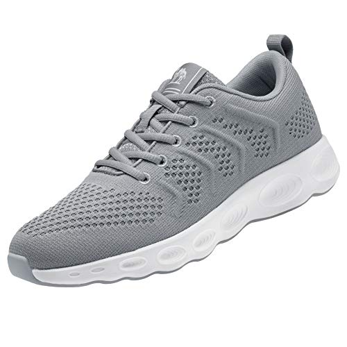 CAMEL CROWN Women Running Shoes Trail Fashion Sneakers Flyknit Comfy Walking Shoe Mesh Lightweight Athletic Gym Casual Sneaker for Girl(Grey,6.5 M ()
