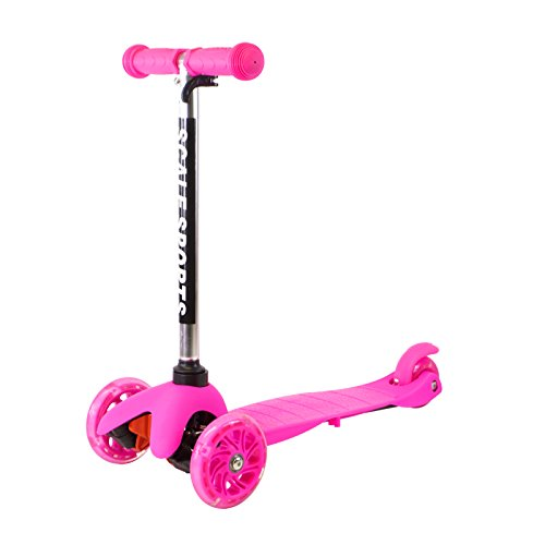 Pink Kids Kick Scooter 3 Wheel Lean To Steer Adjustable Height T-Bar Ride On LED Wheels Up To 85 LB Age 3+