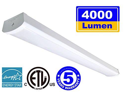 Linkable LED Wraparound Flushmount Light 4ft,LED Shop Light for Garage 4000 Lumens 5000K, ETL and Energy Star Certified,LED Linear Indoor Lights, LED Ceiling Light, 50K1PK by THKSGOD