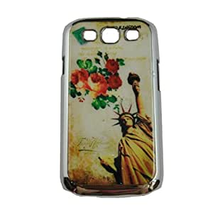 WOW FirstCase Slimand Stylish Protective Hard Case Cover for Samsung Galaxy S3 - Retail Packaging - Statue Of Liberty and Flowers