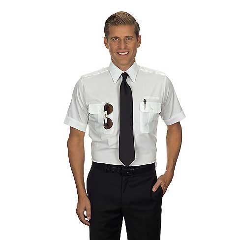 Van Heusen Mens Pilot Shirt - White- Short Sleeve - 18 1/2