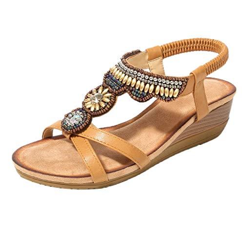 Toimothcn Women Ethnic Flat Sandals Roman Shoes Rhinestone Beading Snake Beach Sandals(Brown4,US:5.5) ()