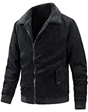 Men's Solid Color Corduroy Jacket Long Sleeve Zipper Down Warm Military Tactical Casual Outdoor Jacket