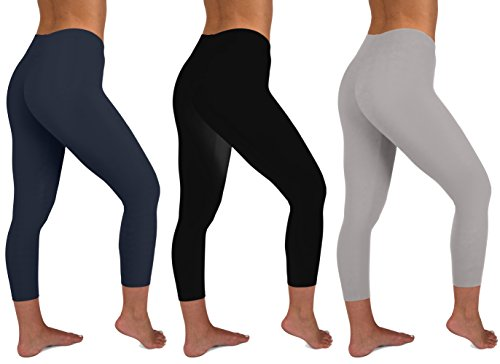 Sexy Basics Womens 3 Pack Active Yoga Workout Capri Cropped Cotton Stretch Leggings (Large, 3 PK-Black Grey Navy) ()