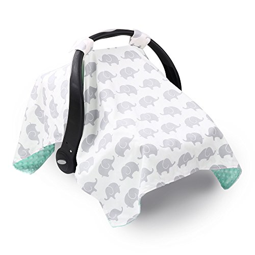 (Grey Elephant Infant Car Seat Canopy Cover by The Peanut Shell)