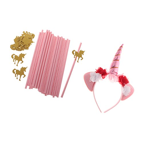 Dovewill Novelty Magical Unicorn Horn Headband 25 Pieces Pink Paper Unicorn Straws for Kids Birthday Party Supplies Craft Supplies Straw Hats
