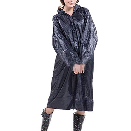 Blue Tinta Moda Camminata Per Pioggia Casuale Impermeabile Da Con Adulti All'aperto Cappuccio Di Donne Unita Lungo Tratto Navy wfTqfgx7Y
