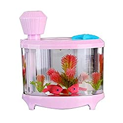 JOUJULY Mini Ultrasonic Fish Tank Air Humidifier Muilt-Function Aquarium with USB Powered LED Night Light for Home Room Bedroom Office