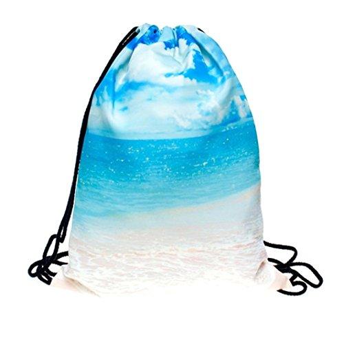 Fabal Men's Women's Print Shoulder Drawstring Bag Rucksack Gym Handbag (D)