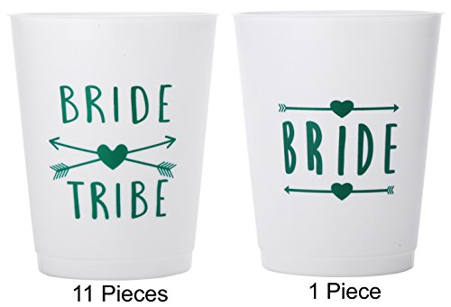 (12 Pack ) Bride and Bride Tribe Cups White/Green - for Bachelorette, Bridal, & Hen Parties (Bubble Guppies Character Names)