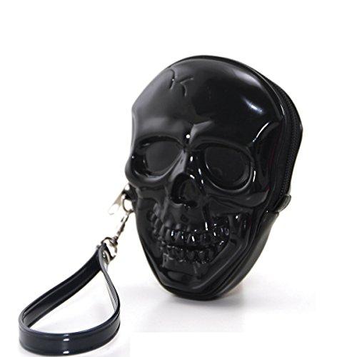 Unique Smiling Skull Head Bone Zippered Wristlet (Skull Purse)