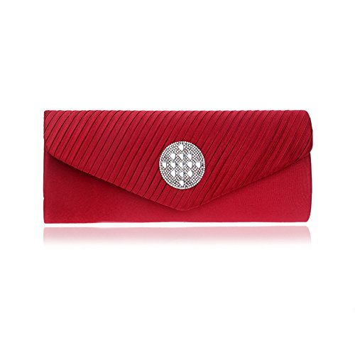 Handbag Envelope Bag Red With Women Clutch Evening Chain Rhinestones Strap Purse Wedding Rqnw0T