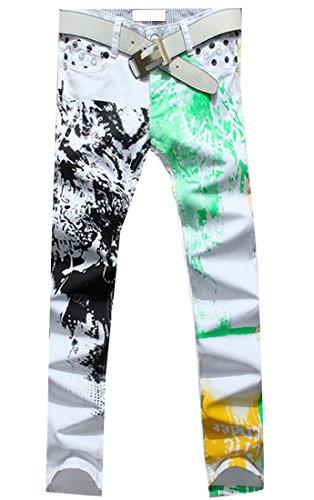 Hot Spirio Mens Stylish Print Washed Slim Fit Cowboy Denim Pant Jeans for sale