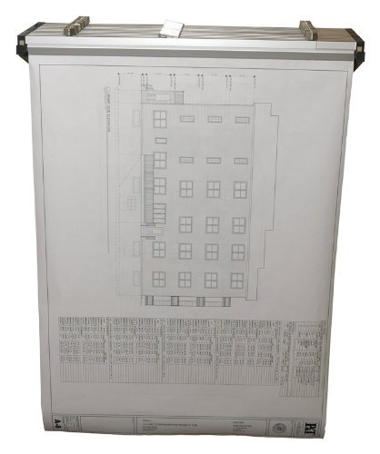 Adir Corp. Drop - Lift Wall Rack for Blueprints - Plans, Sand Beige with 12 36'' File Hanging Clamps by Adir Corp. (Image #1)