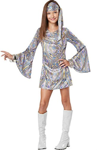 Disco Darling Child 70's Shimmery Multicolored Dress Costume Size XL (Thigh High Boot Covers Halloween Costumes)