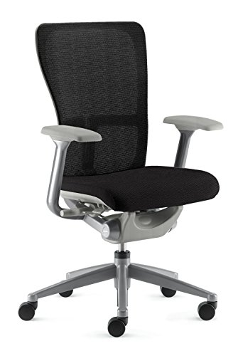 [Zody Chair by Haworth: Basic - Fixed Arms - Pneumatic Lift - Black Seat/Back - Silver Frame] (Silver Frame Black Fabric Seat)
