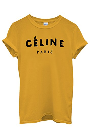Celine Paris Unisex T Shirt Top Rihanna Swag Comme Des Fuckdown Geek Black (Small, Yellow) (Celine Paris Tee)