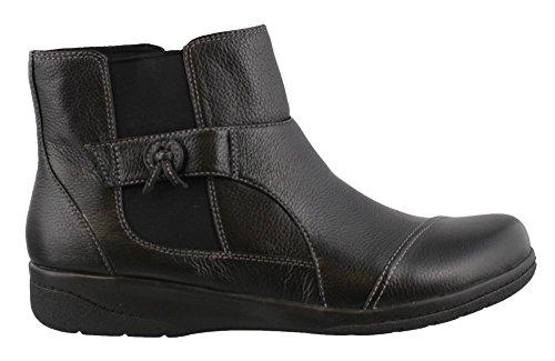 Clarks Women's Cheyn Work Ankle Bootie, Black Leather, 8.5 M US