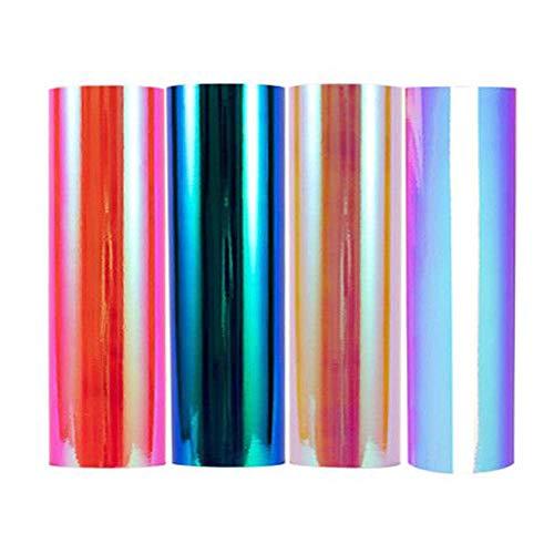 Hoja de vinilo de malaquita de ópalo holográfico verde chapado en cromo de 1 x 5 pies, Opal 4 Colors, 1