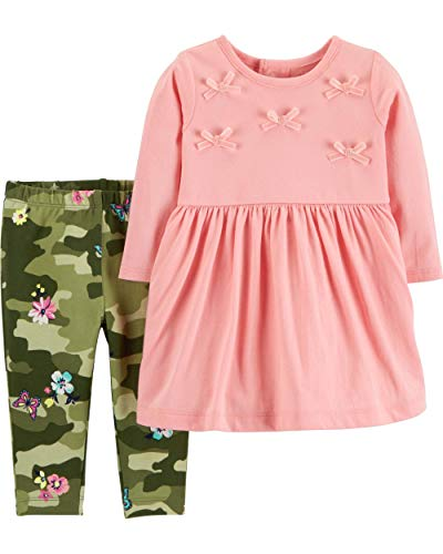 Carter's Girls' 2-Piece Long Sleeve Top and Legging Sets (24 Months, Pink/Camo)
