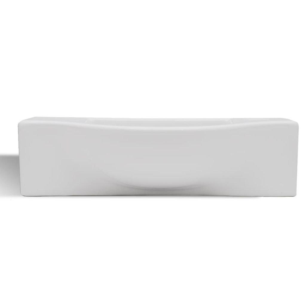 vidaXL Waschbecken Keramik Hahnloch Waschschale Waschtisch Aufsatzwaschbecken