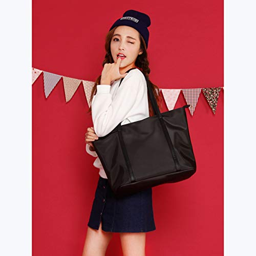 YALUXE Tote for Women Leather Nylon Shoulder Bag Women's Oxford Nylon Large Capacity Work fit 15.6 inch Black