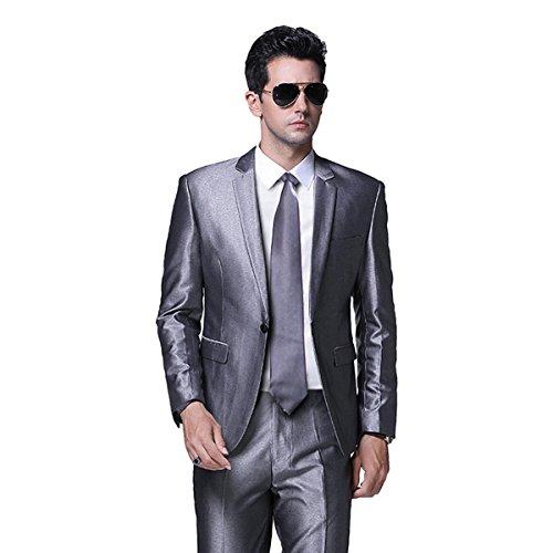 2 Button Notch Tuxedo - Men's One Button Formal 2-piece Suits Tuxedo Multi-color Slim Fit,Silver,X-Large