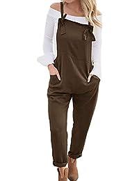 Womens Loose Overalls Long Suspender Jumpsuit Bib Baggy Romper Pants Plus  Size 8 Colors a5f2a4ed7e86