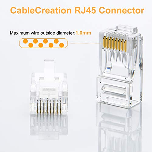 Cat6 RJ45 Ends, CableCreation 100-PACK Cat6 Connector, Cat6 / Cat5e RJ45 Connector, Ethernet Cable Crimp Connectors UTP Network Plug for Solid Wire and Standard Cable, Transparent
