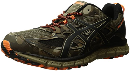ASICS Men's Gel-Scram 3 Trail Runner, Light Brown/Black/Hot Orange, 9 M US