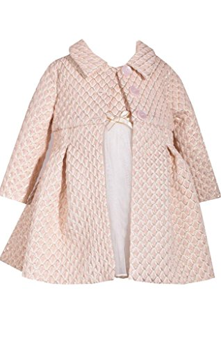 Bonnie Jean Ivory and Gold Metallic Brocade Bodice Christmas Dress and Coat Set 24 Months