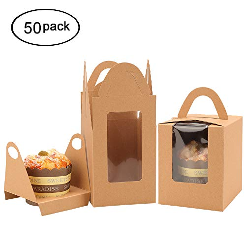 DIY Kraft Brown Window Cupcake Boxes with Inserts and Handle Bakery Boxes Party Favor for Wedding Birthday Baby Shower Party (Brown, 50)