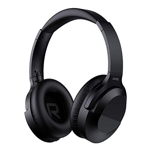 Active Noise Cancelling Headphones,SANAG Bluetooth Wireless Headset Over Ear,Bluetooth 5.0 Hi-Fi Stereo Earphones with Microphone,Soft Memory-Protein Earmuffs 30H Playtime for Travel/Work