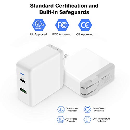 T ATHINK 2 Port 48W USB C Power Adapter with 30W Power Delivery Port and 18W Quick Charger 3.0 Port for 2018 iPad Pro 11 MacBook 12 inch 12.9 USB C Charger Cellphone New MacBook Air MacBook Pro
