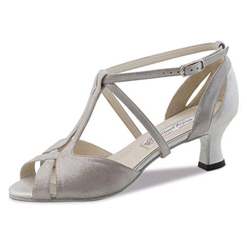 Werner Kern–Zapatos de baile para mujer Francis 5,5 Velourleder Perl Silber