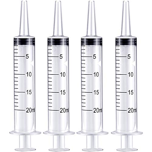 (Frienda 4 Pack Large Plastic Syringe for Scientific Labs and Dispensing Multiple Uses Measuring Syringe Tools (20 ml))