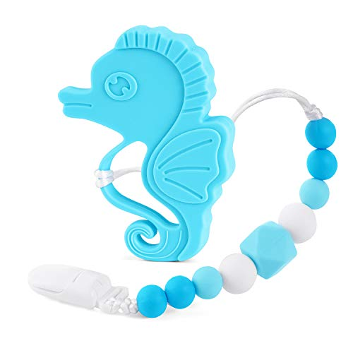 Baby Teething Toys FDA Approved Silicone Teether Chew Toy with Pacifier Clip Binky Holder for Boys and Girls Teething Pain Relief BPA Free Cute Baby Shower Gift (Blue Seahorse) ()