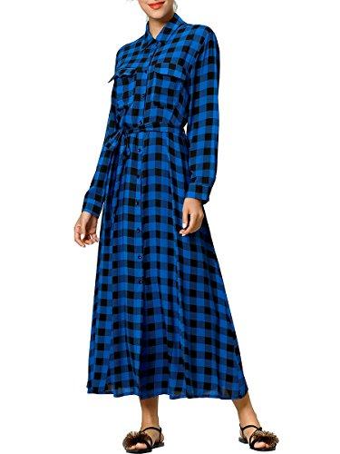 (Baya Boho Style Long Sleeve Maxi Dress for Women Shirt Dresses Floral Print Vintage Muslim Robe Kaftan)