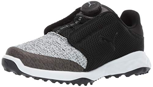 Puma Golf Unisex Kid's Grip Fusion Sport Disc Golf Shoe, Puma Black-Quarry, 1 M US Little