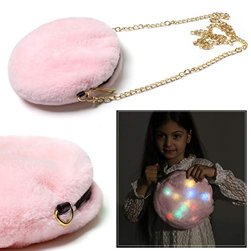 Led Fur Crossbody Handbag Kids Light UP Plush Shoulder Messenger Bags Cellphone Purse Wallet Travel Bag with Chain Strap Unicorn Xmas Gift for Woman Teen Girls Pink